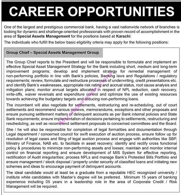 Banking Jobs at Karachi 2021 for Group Chief