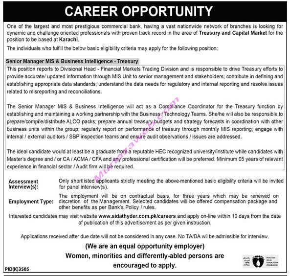 Banking Jobs at Karachi 2021 for Senior Manager