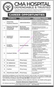 CMA Hospital Lahore Jobs 2021