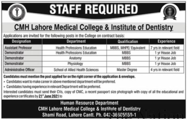 CMH Lahore Medical College & Institute Of Dentistry Jobs June 2021