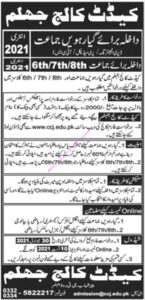 Cadet College Jhelum Admissions 2021 for Class 6th to 8th