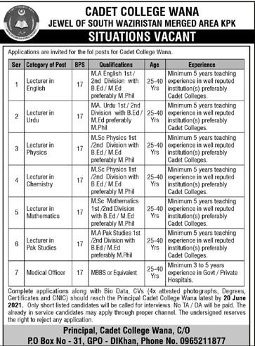 Cadet College WANA South Waziristan Latest Jobs June 2021