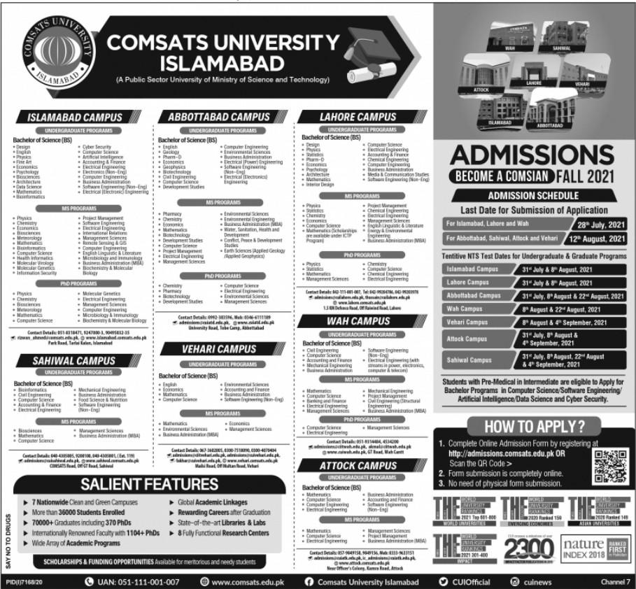 Comsats University Admissions June 2021 Apply Online
