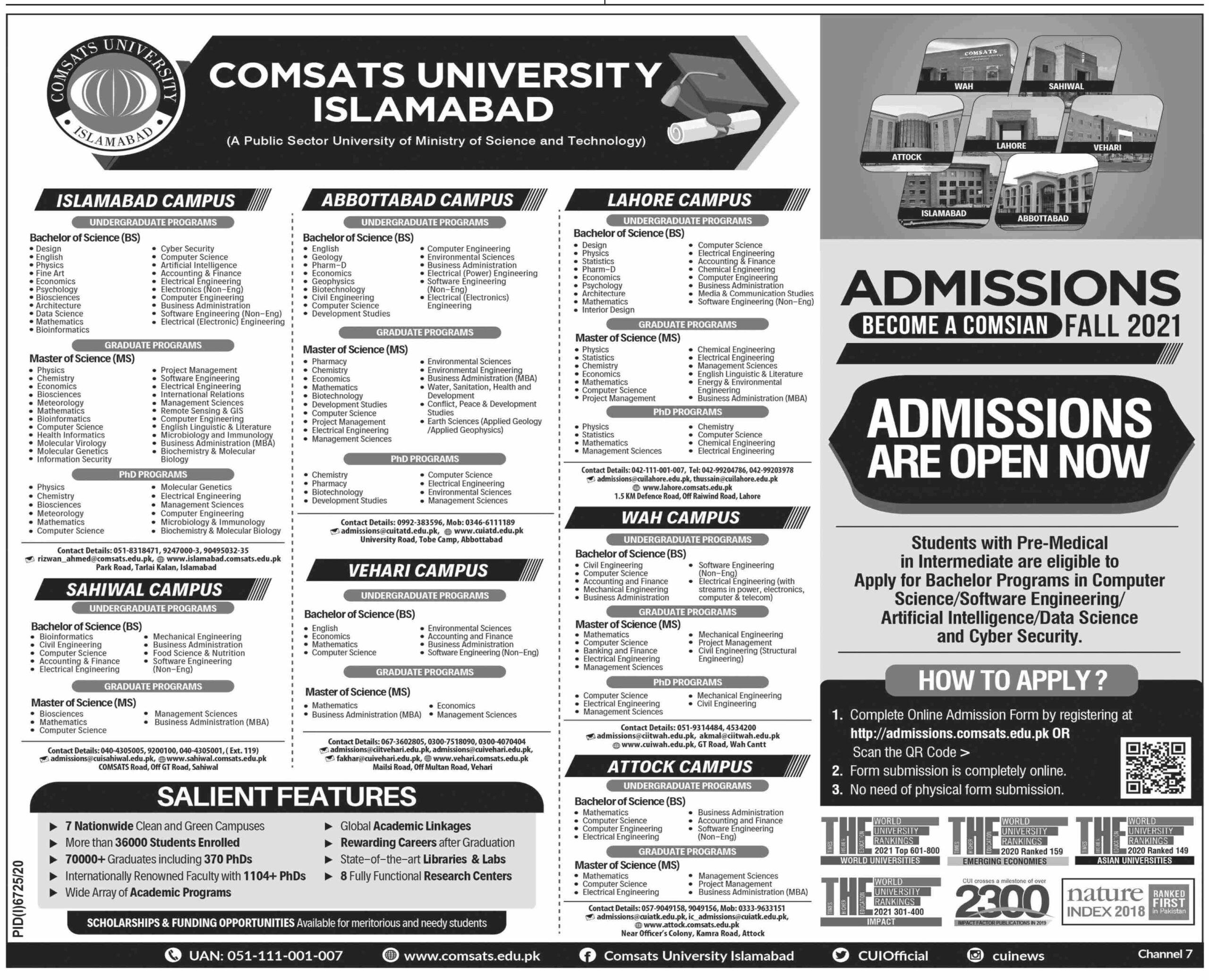 Comsats University Islamabad Admissions Undergraduate 2021
