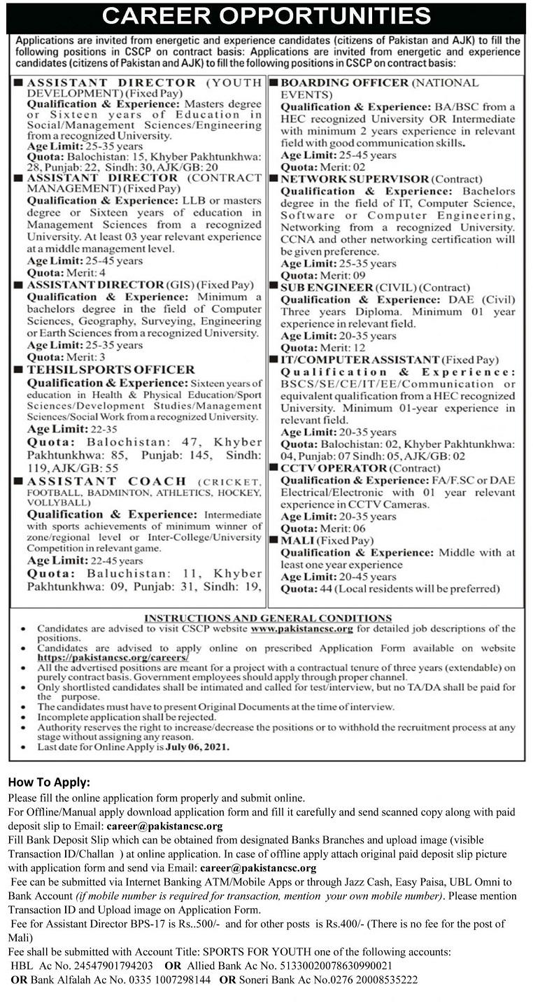 Cscp Pakistan Community Sports Council Jobs 2021