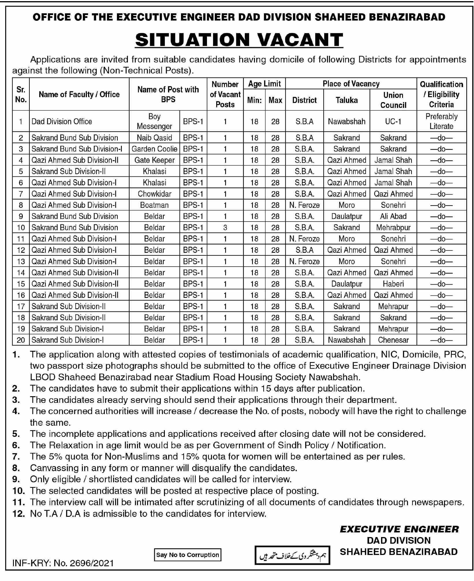 DAD Division Jobs June 2021 For Non Technical Staff In Shaheed Benazirabad
