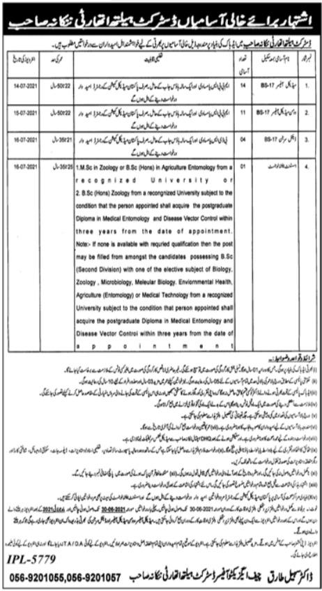 DHA Nankana Sahib Medical Jobs 2021 District Health Authority