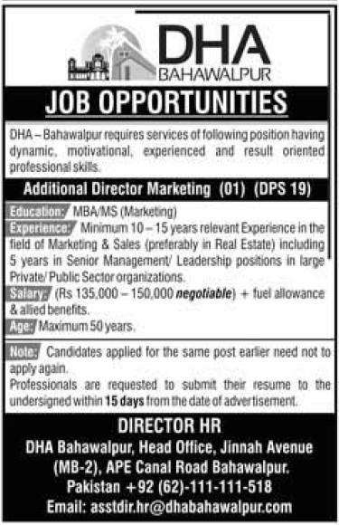 DHA Peshawar Jobs 2021 for Additional Director Marketing