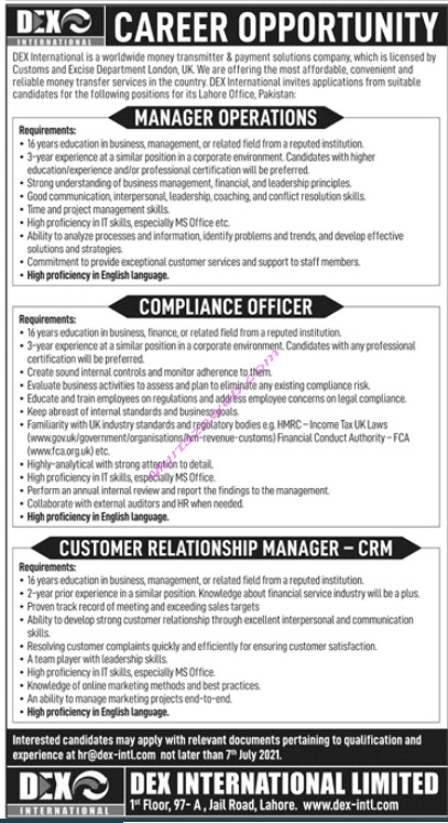 Dex International Limited Lahore Jobs 2021