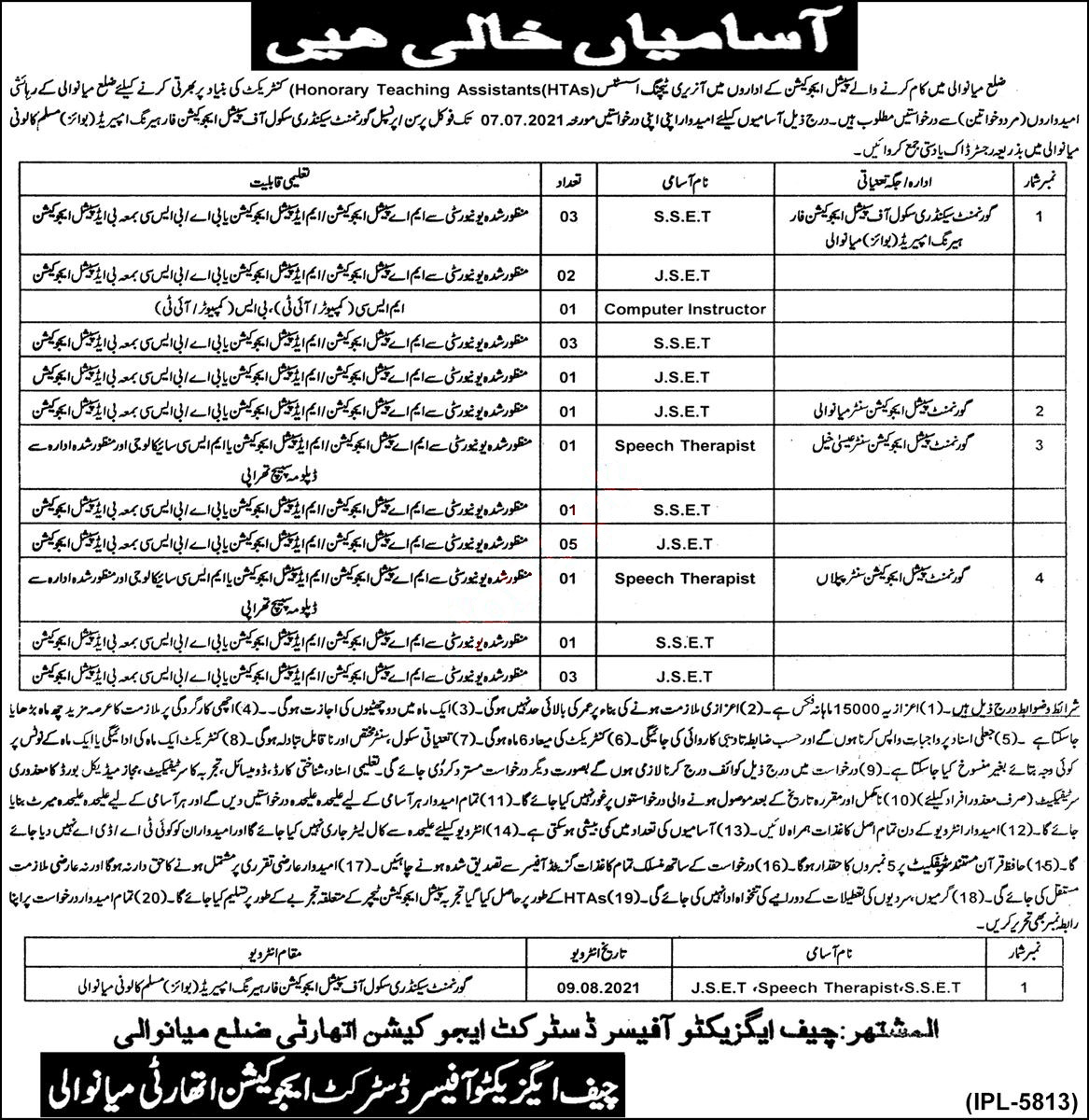 District Education Authority Mianwali Teaching Jobs June 2021 Advertisement
