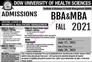 Dow University of Health Sciences Admissions 2021 for BBA-MBA