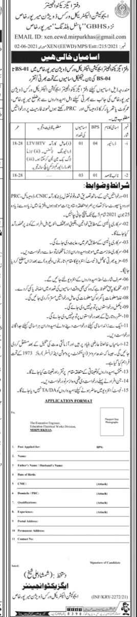 Education Electrical Works Division Mirpur Khas Jobs June 2021