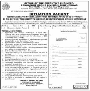 Education Works Division Mirpur Khas Sindh Jobs 2021