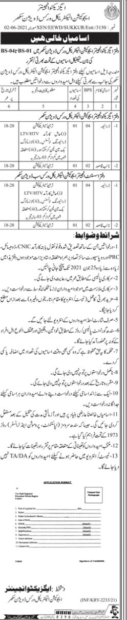 Education Works Division Sukkur latest Jobs June 2021