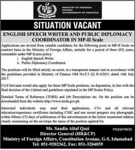 English Speech Writer & Public Diplomacy Coordinator Jobs June 2021 in Islamabad