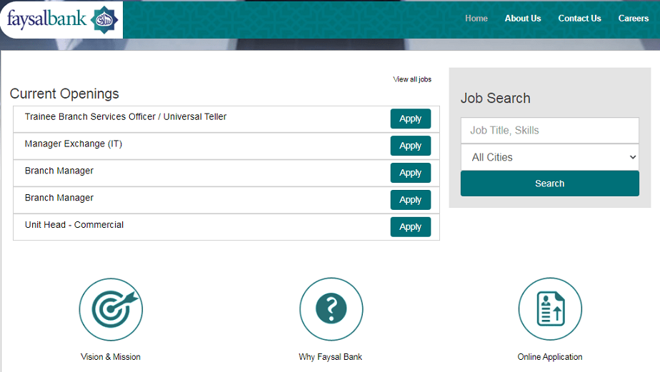 Faysal Bank Limited Karachi Jobs 2021 Online Apply