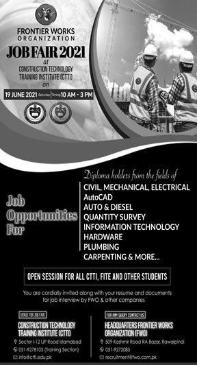 Frontier Works Organization FWO Rawalpindi Jobs June 2021
