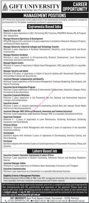 GIF University Gujranwla Jobs 2021 for Management