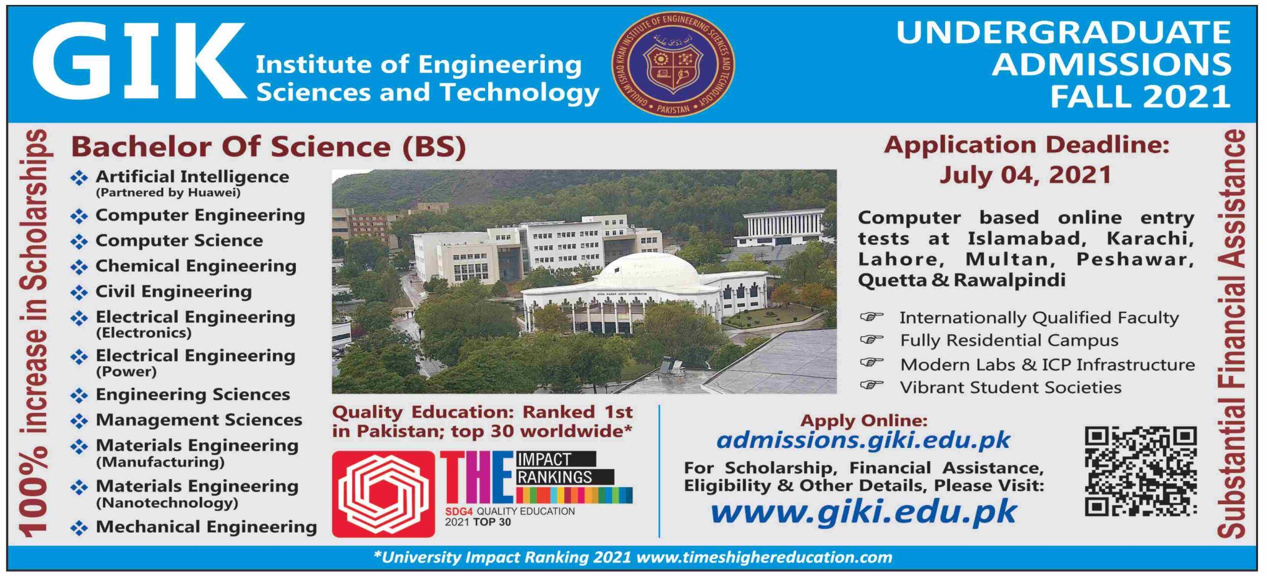 GIK Undergraduate Admissions 2021