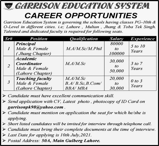 Garrison Education System Lahore Jobs 2021 in Pakistan