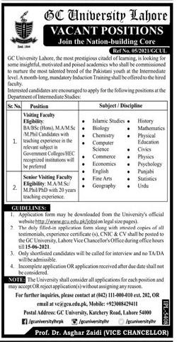 Government College GC University Lahore Jobs June 2021 in Pakistan