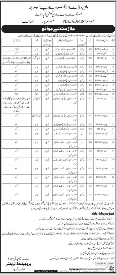 Govt Of Sindh Naib Qasid Jobs 2021 at Irrigation Department Khairpur