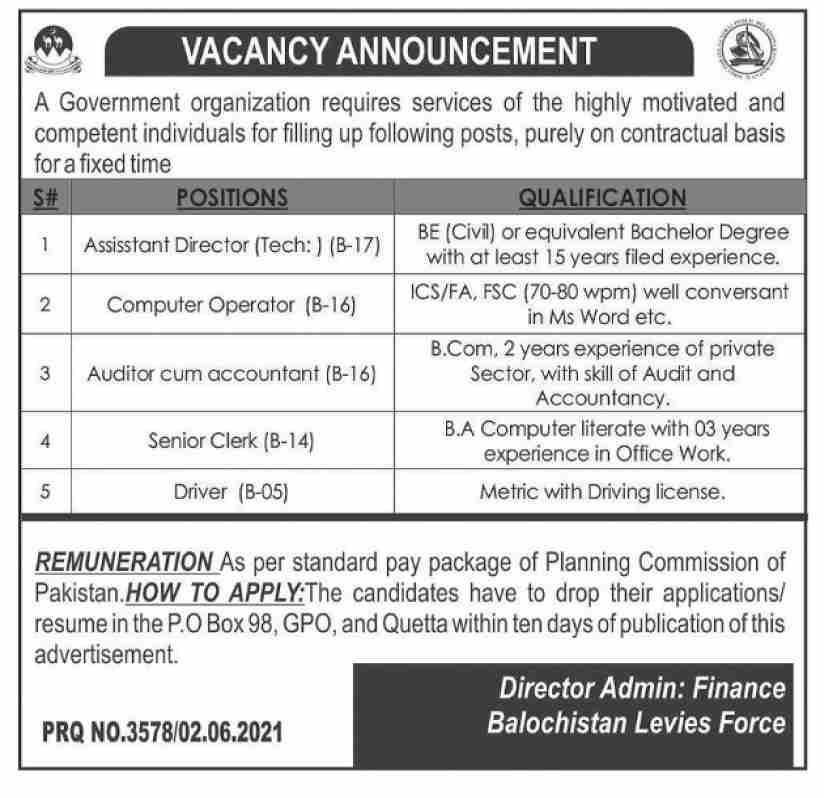 Govt Organization Balochistan Levies Force Jobs June 2021