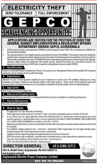 Gujranwala Electric Power Company Gepco Latest Jobs 2021