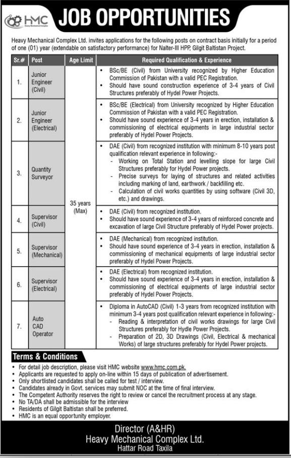 Heavy Mechanical Complex Limited HMC Jobs June 2021