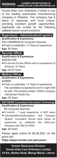 Honda Atlas Cars Lahore Supervisor Jobs 2021