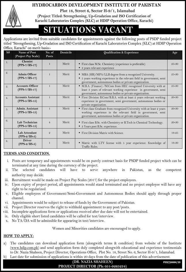 Hydrocarbon Development Institute Of Pakistan Hdip Jobs In Islamabad June 2021