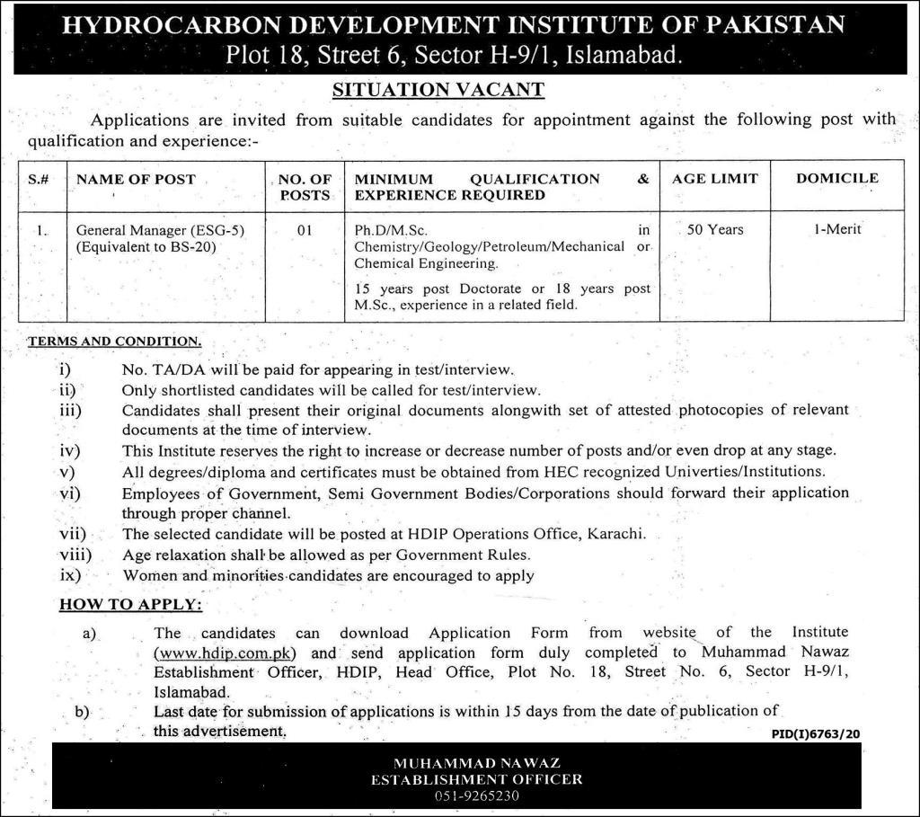Hydrocarbon Development Institute Of Pakistan Jobs In Islamabad June 2021
