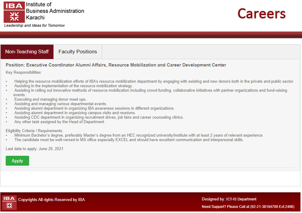 IBA Jobs 2021 Online Apply For Executive Coordinator