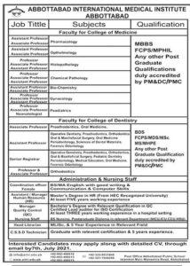 International Medical Institute jobs 2021 in Abbottabad Latest Advertisement