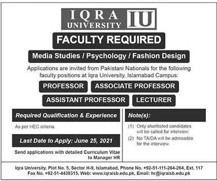 Iqra University Islamabad Jobs June 2021 for Professor