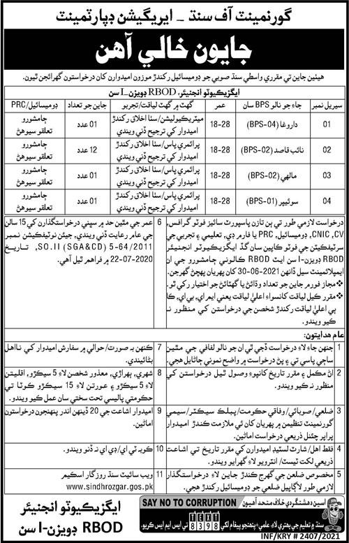 Irrigation Department Jamshoro Sindh Jobs June 2021