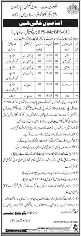 Irrigation Department Larkana Jobs 2021 for Class 4