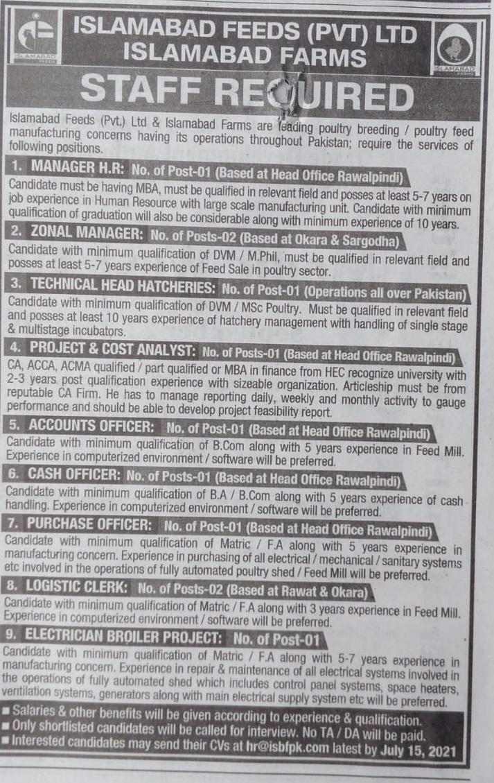 Islamabad Feed Pvt Limited Jobs 2021