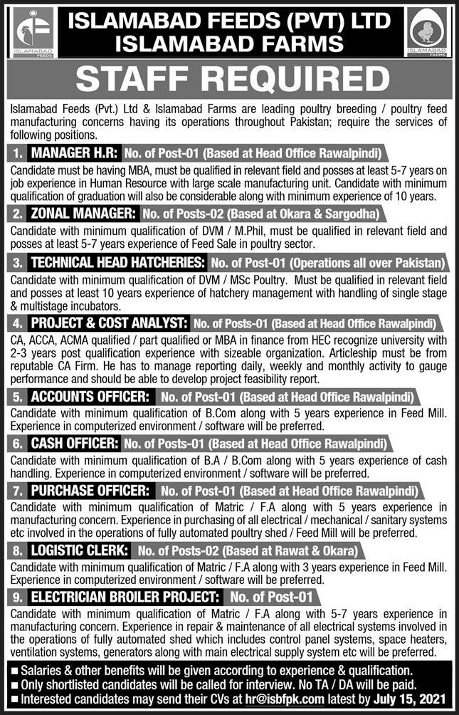 Islamabad Feeds Private Limited Jobs 2021 Online Apply