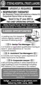 Ittefawq Hospital Trust Lahore Jobs 2021