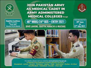 Join Pak Army As Medical Cadet In Army Administered Medical Colleges 2021