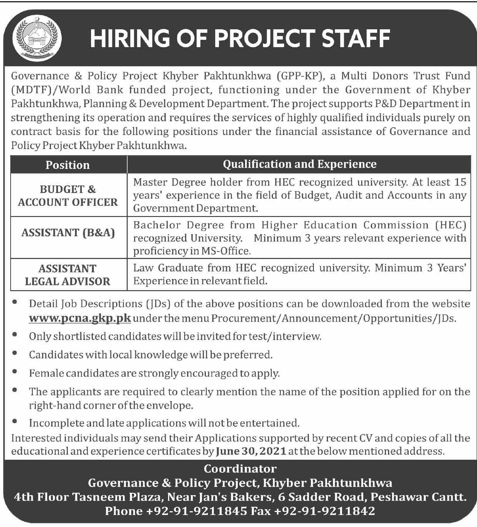 KPK Governance and Policy Project Jobs June 2021 for Budget and Account Officer