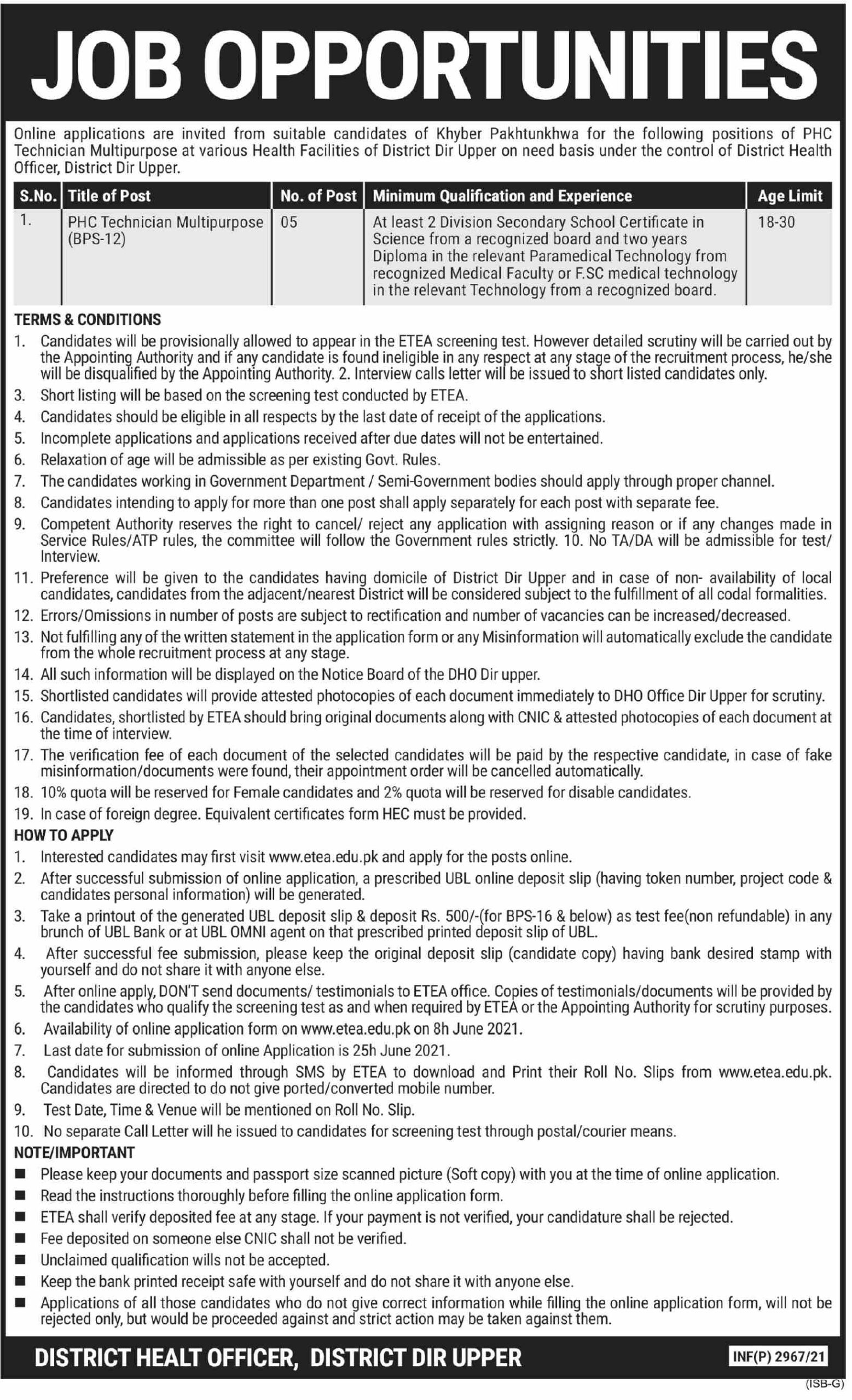KPK Health Department District Dir Upper Latest Jobs June 2021