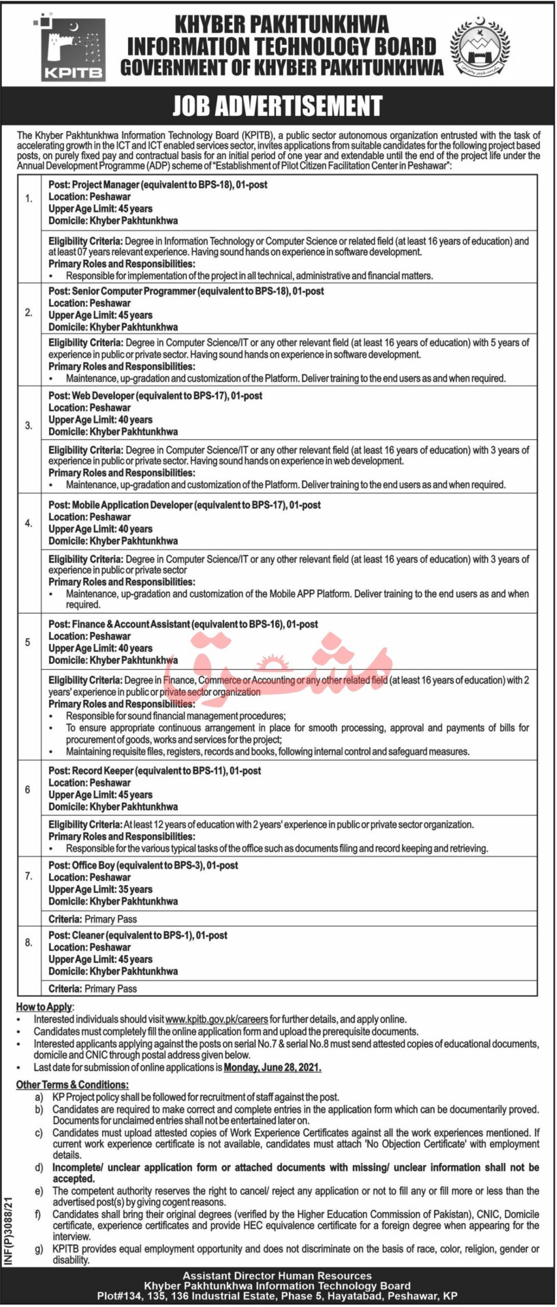 KPK Information Technology Board Job 2021 - KPITB Latest Jobs June 2021