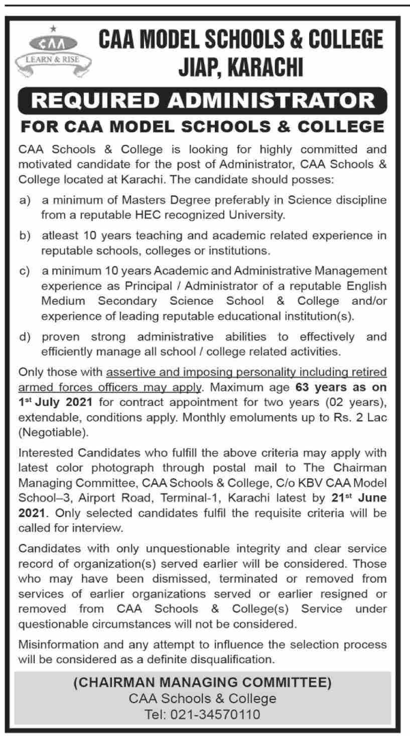Karachi Jobs 2021 at CAA Model School & College for Administrator