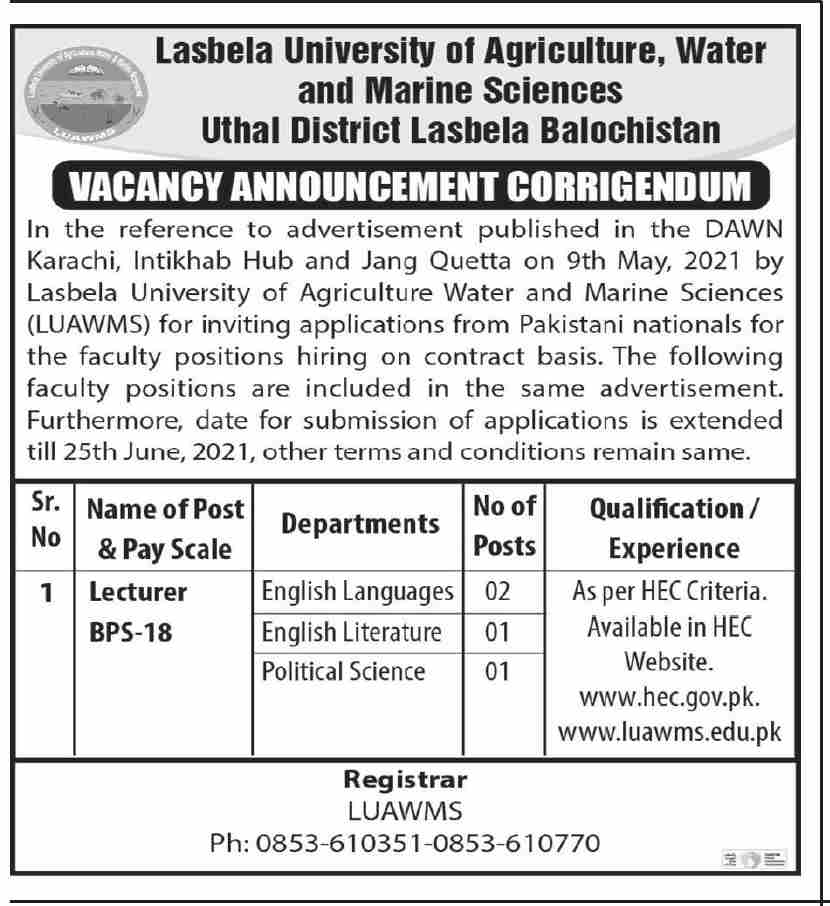 Lasbela University of Agriculture Water and Marine Science Jobs 2021