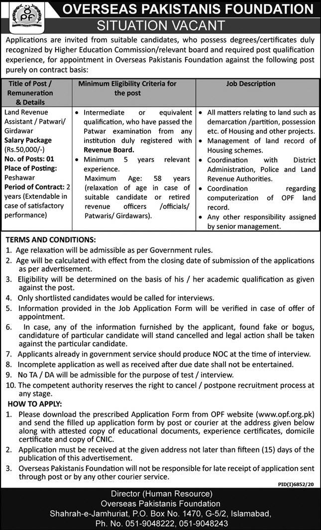 Latest Overseas Pakistani Foundation Advertisement 2021 - Form Download www.opf.org.pk