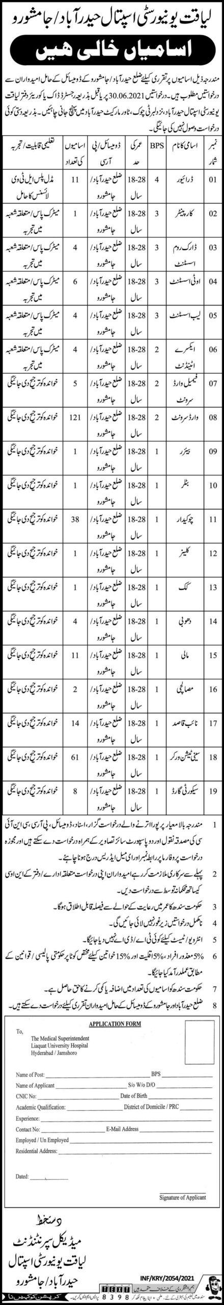 Liaquat University Hospital Hyderabad Jobs 2021 (300 Posts)