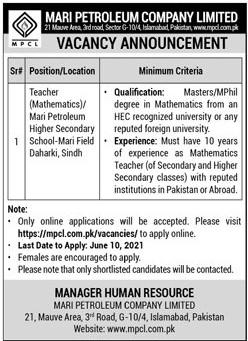 Mathematics Teacher Jobs June 2021, Mari Petroleum Company Limited