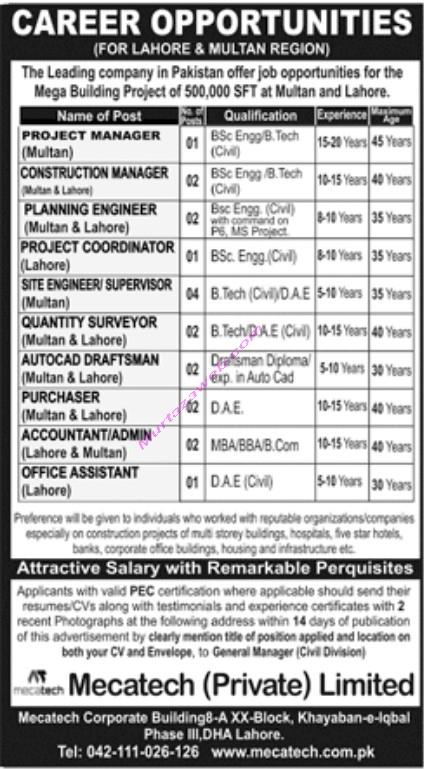 Mecatech Private Ltd Lahore Jobs 2021